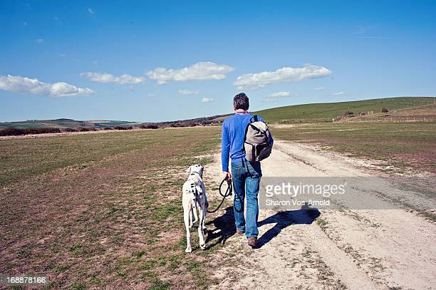 Man & Great Dane dog walking away, empty landscape
