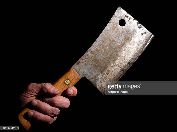 Man hand holding butcher knife