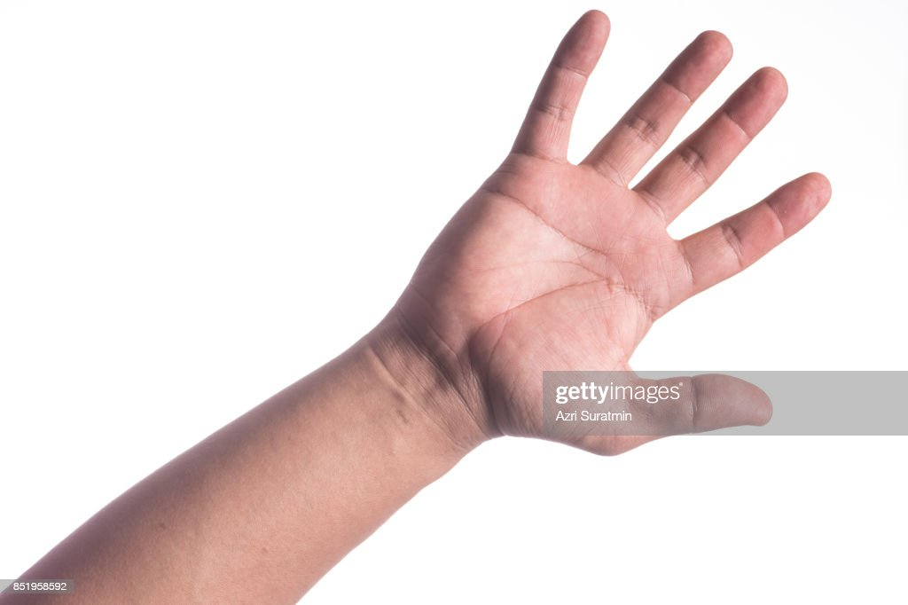 Man hand isolated on white background, clipping path : Stock Photo