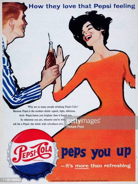 Man hands a bottle of Pepsi-Cola to a woman with the captions 'How they love that Pepsi feeling' and 'peps you up'. Original Publication: Picture...