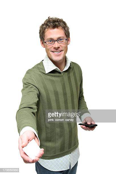 Man Hands Business Card