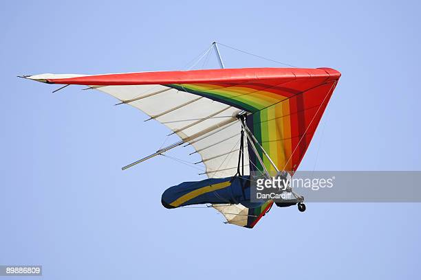 Man hang gliding with blue sky at the background