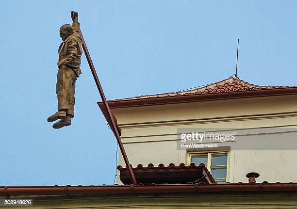 man hanging out statue - sigmund freud stock photos and pictures
