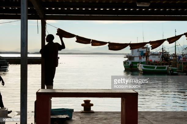 A man hangs out snoek to dry in the harbour in Kalk Bay a trendy fishing village about 30km from the city centre on July 11 in Cape Town Kalk Bay...