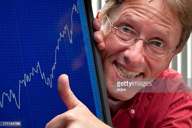 Mann glückliche positive stock exchange rate oder Unternehmen profitieren