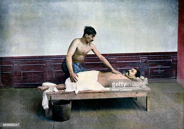 Man having a massage in bath house c1890 Illustration from Caucase and Asie Centrale Types and Costumes by L Boulanger
