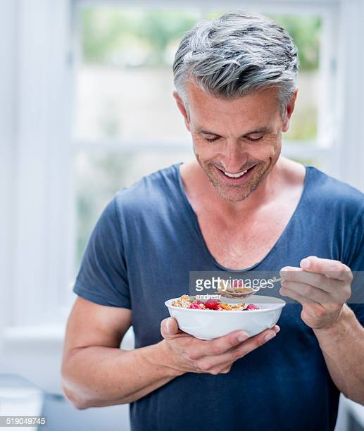 Man having cereals