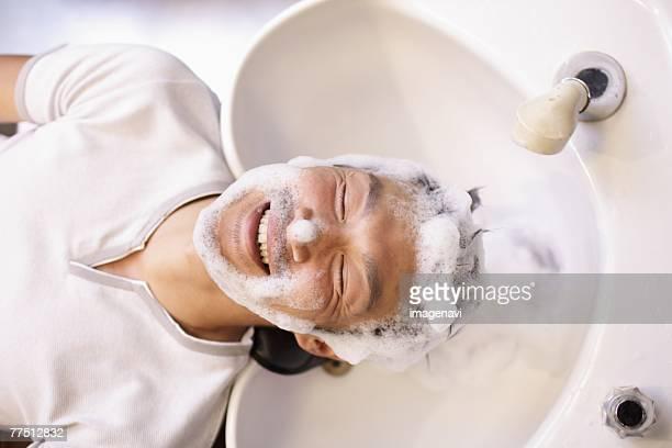 Man Having Hair Washed