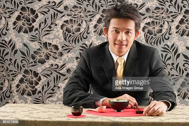 Man having meal at restaurant