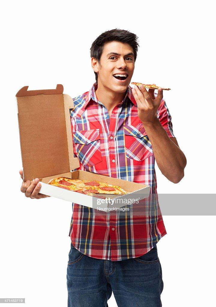 Man Having Slice Of Pepperoni Pizza - Isolated : Stock Photo