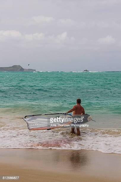 A Man Heads Out into the Water To Windsurf While Others Enjoy Recreation Kiteboarding in the Pacific Ocean With The Mokapu Penninsula in the Distance...