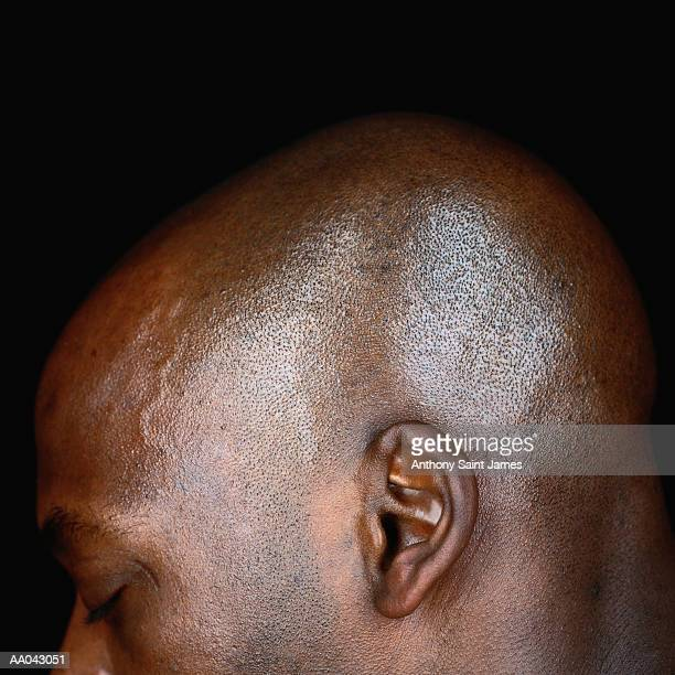 man, high section, side view, close-up of ear - ear stock pictures, royalty-free photos & images