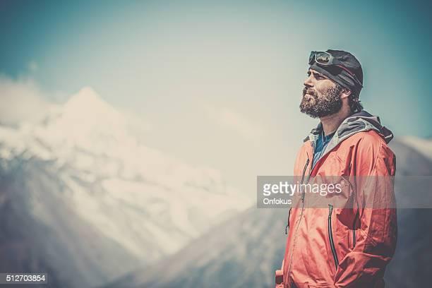 Man hiker Hiking Around Annapurna Trek, Nepal