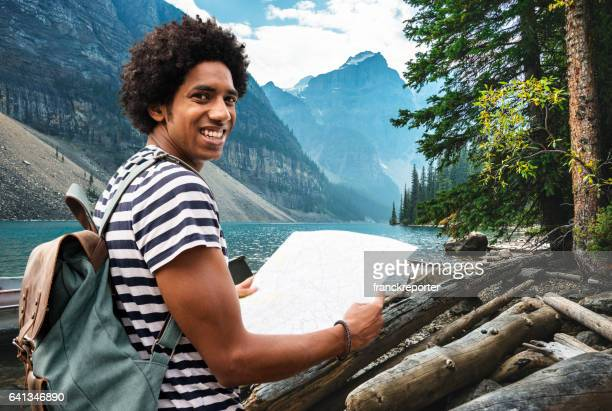 man hiking in banff park - banff stock pictures, royalty-free photos & images
