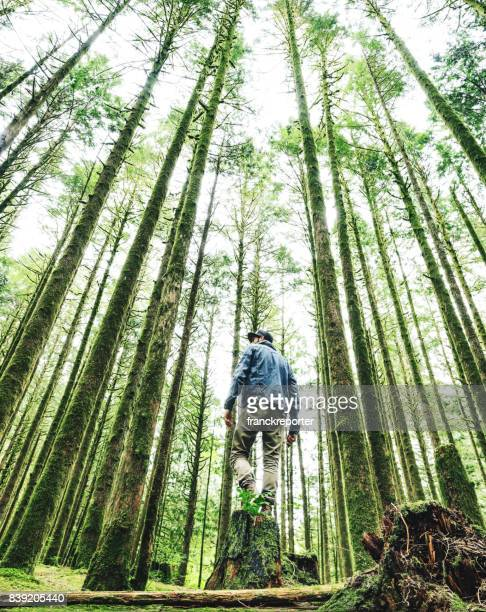 man hiking in british columbia