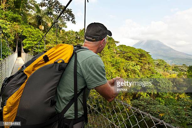 Man hiking in jungle, hanging bridge, Arenal Volcano, Costa Rica