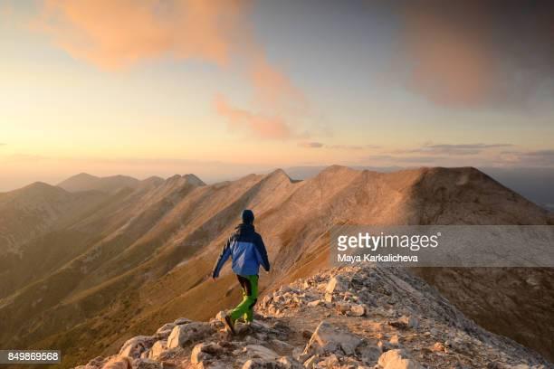 Man hiking in Pirin mountain, Bulgaria