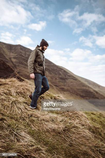 man hiking in the mountains