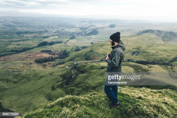 man hiking in the peak district