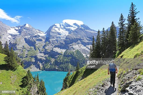 man hiking in the swiss mountains in summer - bern stock photos and pictures