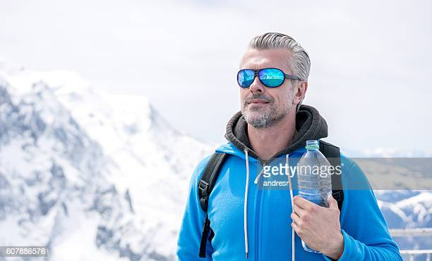 Man hiking in the winter