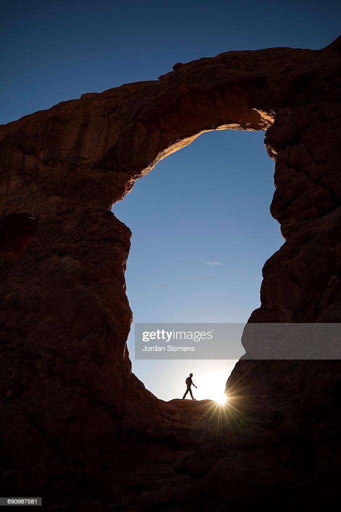 A man hiking in Utah : Stock Photo