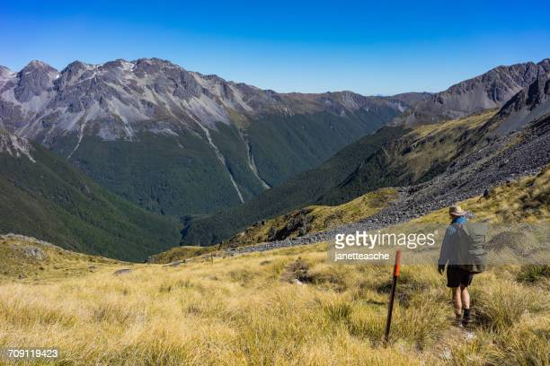 Man Hiking over the Travers Saddle, Nelson Lakes, National Park, New Zealand