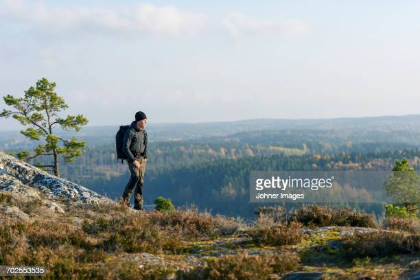 man hiking - dalsland stock photos and pictures