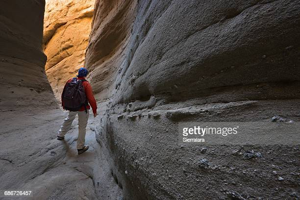 man hiking through palm slot canyon, anza-borrego desert state park, california, america, usa - slot canyon stock pictures, royalty-free photos & images