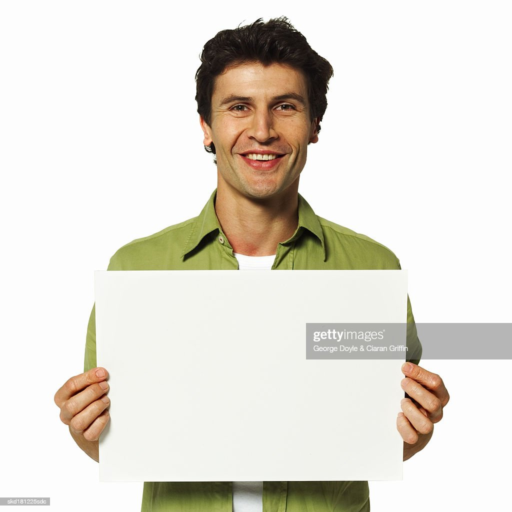 man holding a blank card stock photo  getty images