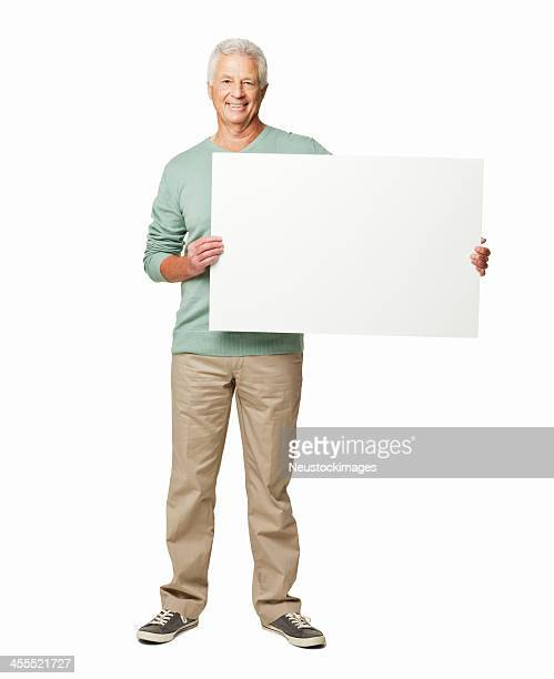 man holding a blank sign - isolated - blank sign stock photos and pictures