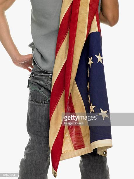 Man holding a flag