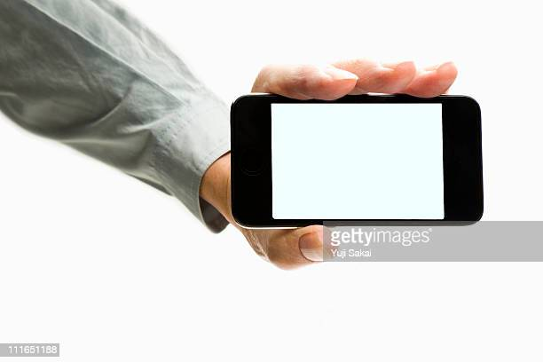 Man holding a smart phone