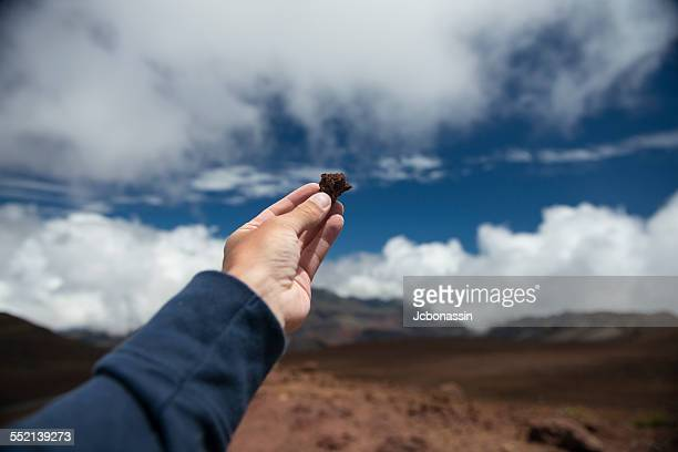 man holding a volcanic rock, maui, hawaii - jcbonassin stock pictures, royalty-free photos & images