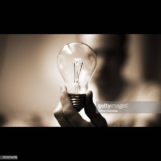 Man holding an electric light bulp in his hands