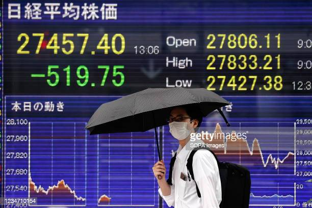 Man holding an umbrella walks in front of an electric board showing Nikkei index a brokerage in Tokyo.