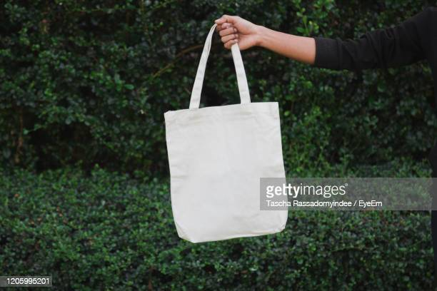 man holding bag canvas fabric for mockup,ecology concept. - トートバッグ ストックフォトと画像