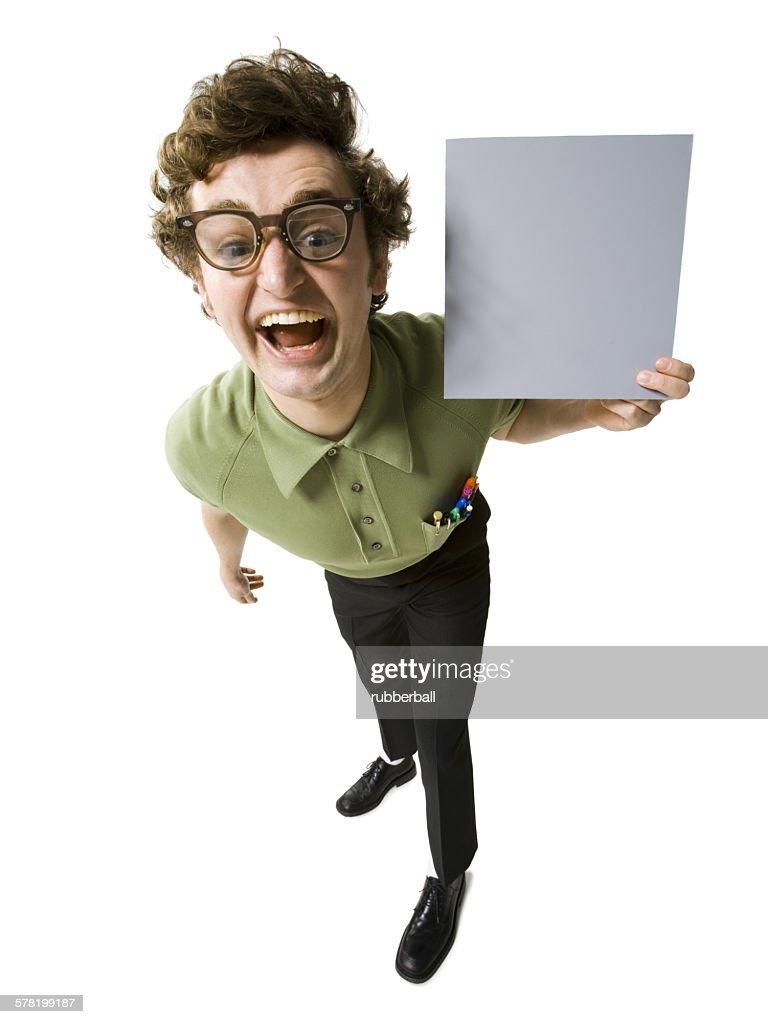 Man holding blank sign : Stock Photo