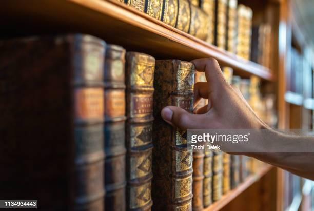 図書館で本を持っている人 - 図書館 ストックフォトと画像