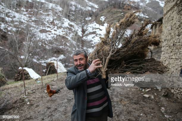 A man holding brush walks around stone houses at his village in Hizan district in the southeastern province of Bitlis Turkey on February 18 2018 Most...