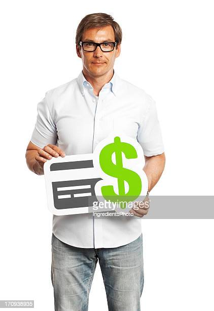 Man holding credit card payment sign isolated on white background.