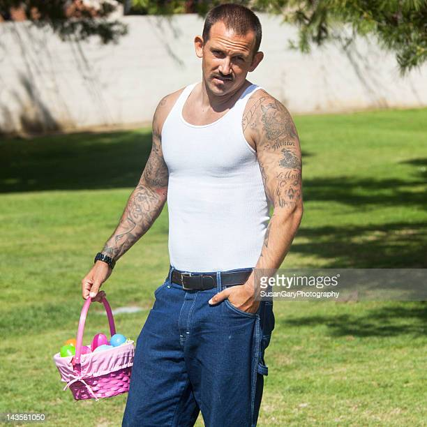 man holding easter eggs basket - easter basket stock pictures, royalty-free photos & images