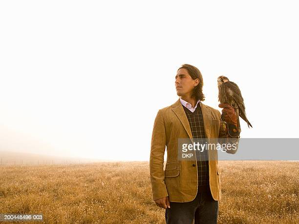 man holding falcon, standing outdoors, looking to side - hawk stock photos and pictures