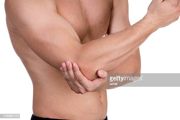 Man holding his elbow because it hurts