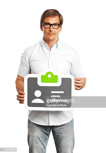 Man holding identification card sign isolated on white background.