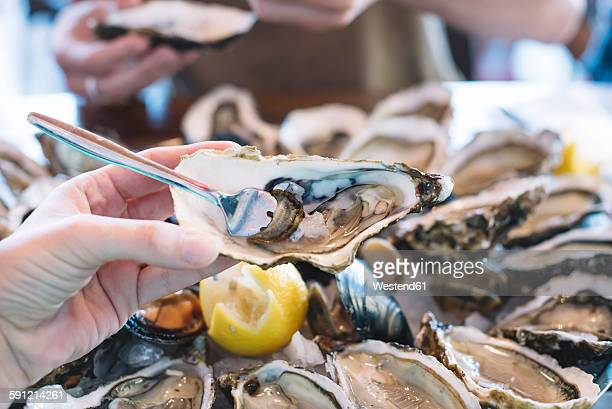 man holding oyster, fork sticking in it - oyster shell stock photos and pictures