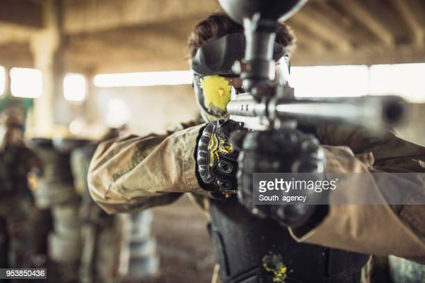 Man holding paintball gun