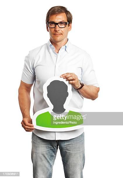 immagine del profilo di uomo con cartello isolato su sfondo bianco. - avatar foto e immagini stock