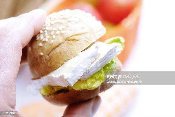 Man holding sesame roll with camembert, close-up