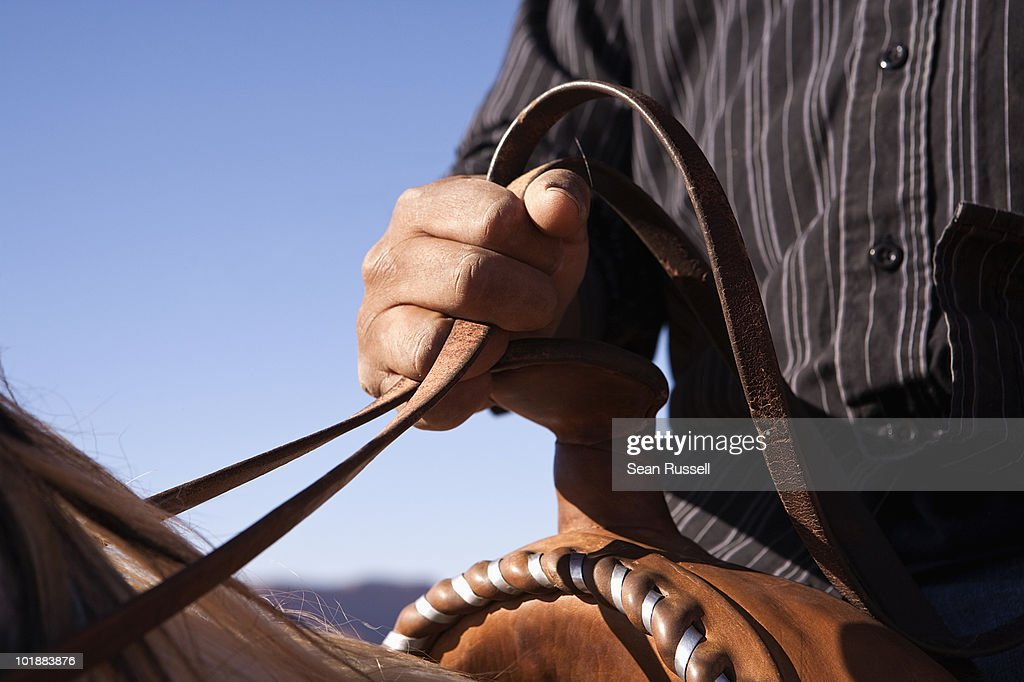 Man holding the reins of horse, close-up, focus on hand : Stock Photo